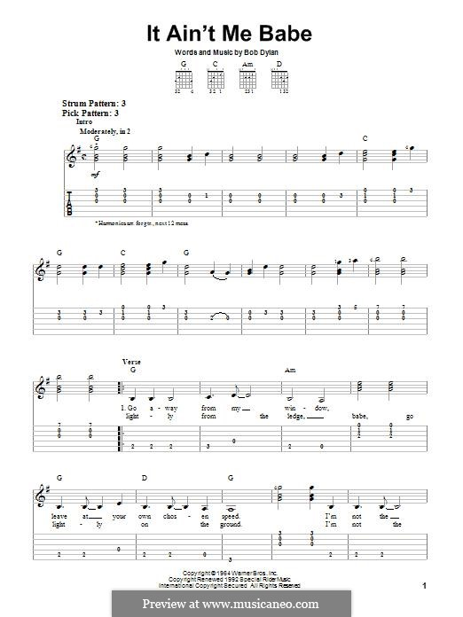It Ain't Me Babe: For guitar with tab by Bob Dylan