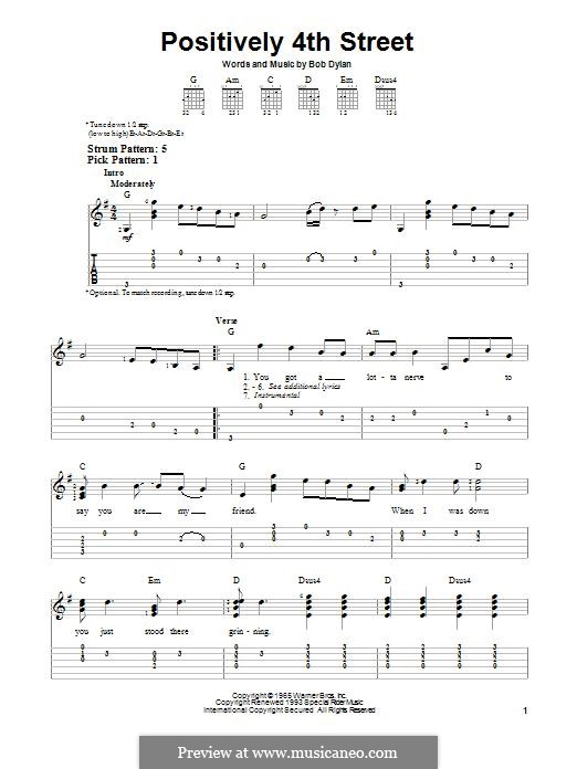 Positively 4th Street: For guitar with tab by Bob Dylan