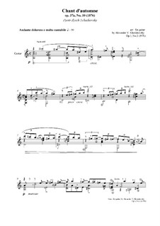 No.10 October (Autumn Song): For guitar, Op.3 No.2 by Pyotr Tchaikovsky