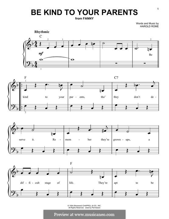 Be Kind To Your Parents: For piano by Harold Rome