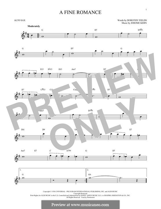 A Fine Romance: For alto saxophone by Jerome Kern