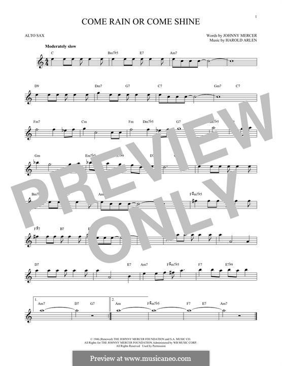 Come Rain or Come Shine: For alto saxophone by Harold Arlen
