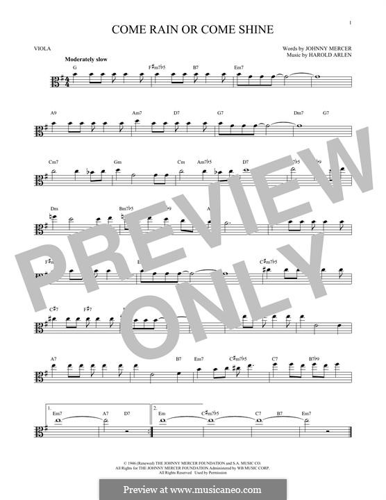 Come Rain or Come Shine: For viola by Harold Arlen