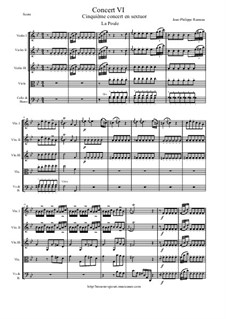 6 Concerts Transcrits en Sextuor: Concert en sextuor No.6 (La Poule, Menuetto I et II, L'enharmonique, L'Egiptienne) - score, parts by Jean-Philippe Rameau