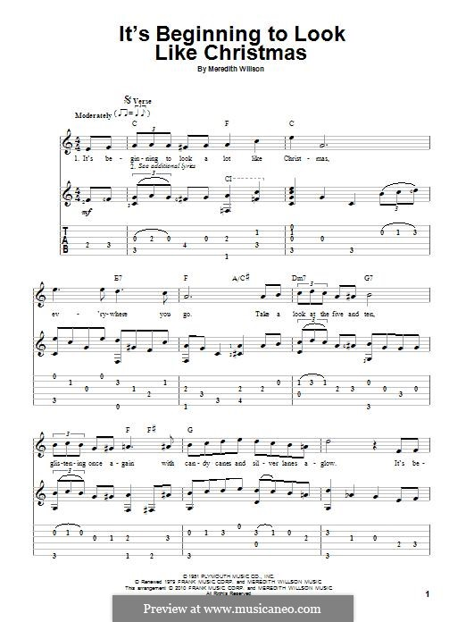 It's Beginning to Look a Lot Like Christmas (Perry Como): For guitar with tab by Meredith Willson