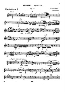 Quintet for Piano and Winds in E Flat Major, Op.16: Clarinet parts by Ludwig van Beethoven