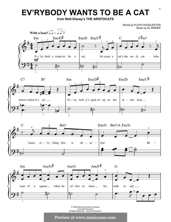 Ev'rybody Wants To Be a Cat (from Walt Disney's the Aristocats): For piano by Al Rinker