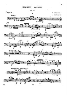 Quintet for Piano and Winds in E Flat Major, Op.16: Bassoon part by Ludwig van Beethoven