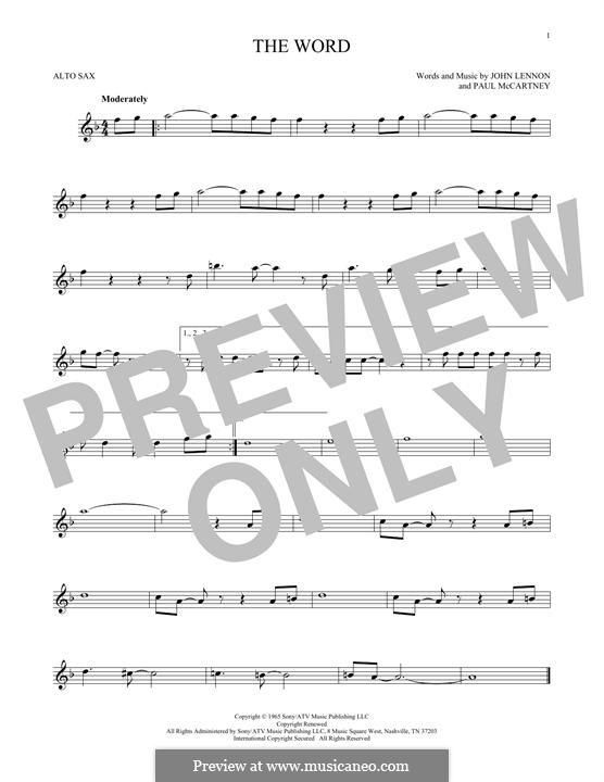 The Word (The Beatles): For alto saxophone by John Lennon, Paul McCartney