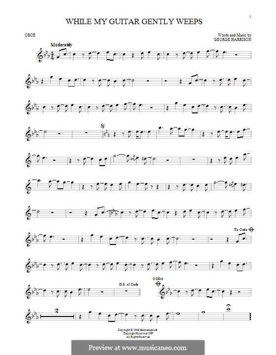 While My Guitar Gently Weeps (The Beatles): For oboe by George Harrison
