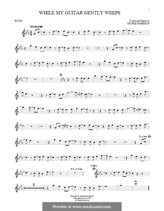 While My Guitar Gently Weeps (The Beatles): For flute by George Harrison