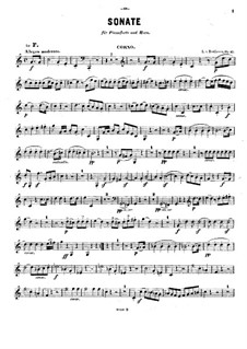 Sonata for French Horn and Piano, Op.17: Solo part by Ludwig van Beethoven