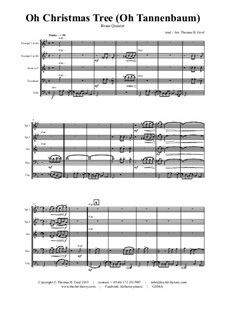 O Christmas Tree (O Tannenbaum): For brass quintet by folklore