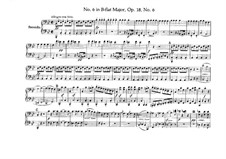 Quartet No.6 in B Flat Major: Version for piano four hands – parts by Ludwig van Beethoven