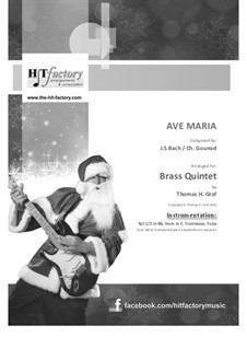 Ave Maria: For brass quintet by Johann Sebastian Bach, Charles Gounod