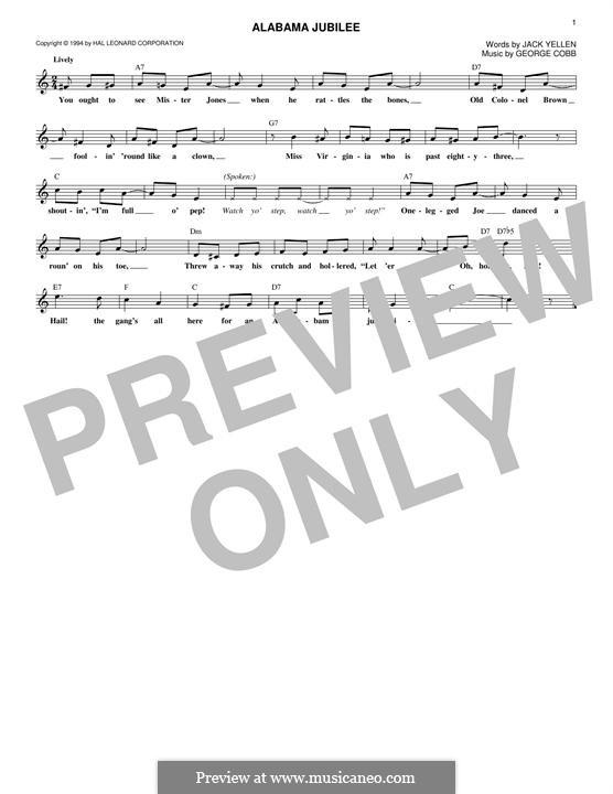 Alabama Jubilee: Lyrics and chords by George L. Cobb