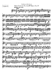 Concerto for Piano and Orchestra No.2, Op.19: Violins II part by Ludwig van Beethoven