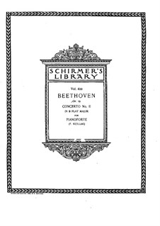 Concerto for Piano and Orchestra No.2, Op.19: Version for two pianos four hands by Ludwig van Beethoven