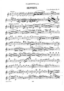 Septet for Winds and Strings, Op.20: Clarinet part by Ludwig van Beethoven