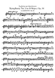 Symphony No.2, Op.36: Clarinets parts by Ludwig van Beethoven