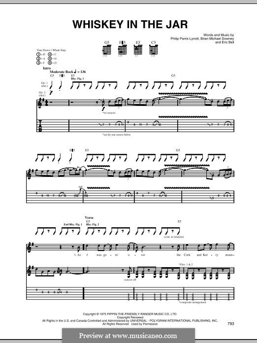 Whiskey in the Jar (Metallica): For guitar with tab by Brian Downey, Eric Bell, Phil Lynott
