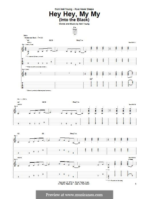 Hey Hey, My My (Into the Black): For guitar with tab by Neil Young