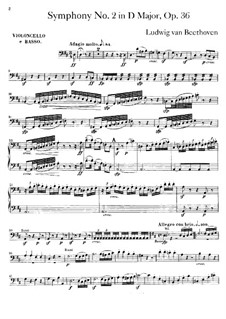 Symphony No.2, Op.36: Cello and double bass part by Ludwig van Beethoven