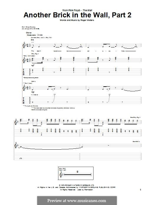 Another Brick in the Wall: Part II, for guitar with tab by Roger Waters