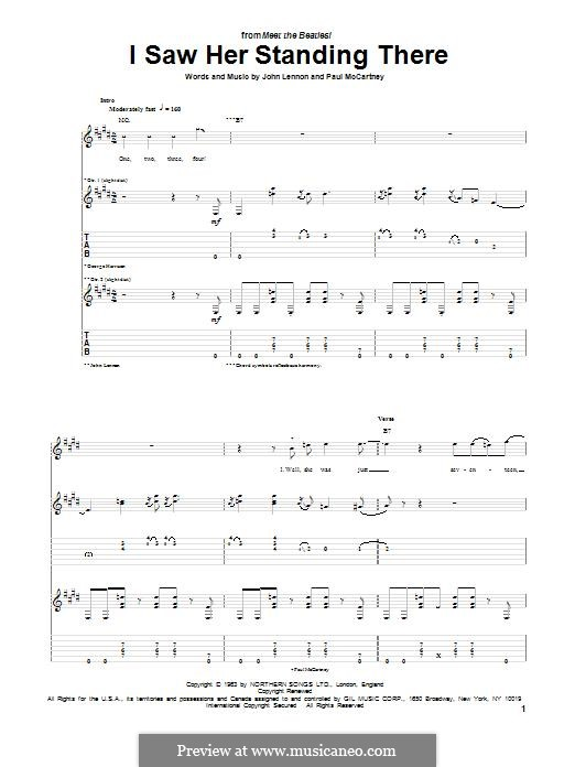 I Saw Her Standing There (The Beatles): For guitar with tab by John Lennon, Paul McCartney