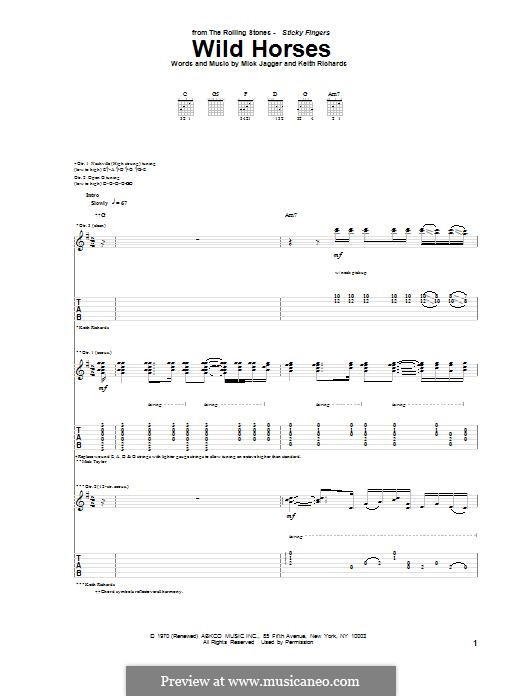Wild Horses (Susan Boyle): For guitar with tab by Keith Richards, Mick Jagger