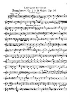 Symphony No.2, Op.36: Horns parts by Ludwig van Beethoven