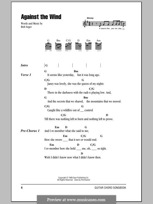 Against the Wind (Bob Seger and The Silver Bullet Band): Lyrics and chords by Bob Seger