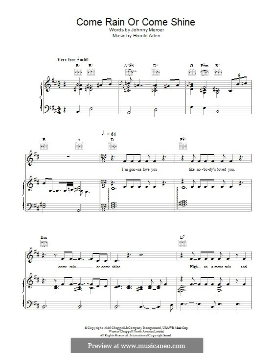 Come Rain or Come Shine: For voice and piano (or guitar) by Harold Arlen