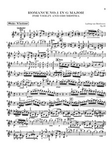 Romance for Violin and Orchestra No.1 in G Major, Op.40: Violin solo part by Ludwig van Beethoven