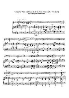 Sonata for Violin and Piano No.9 'Kreutzer', Op.47: Movement I by Ludwig van Beethoven