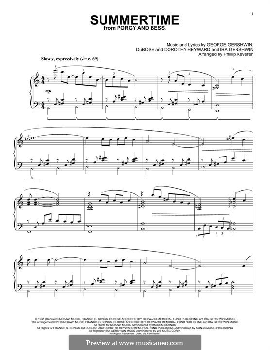 Summertime: For piano by George Gershwin