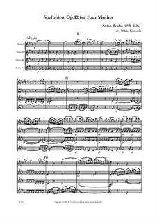 Sinfonico for Four Flutes in D Major, Op.12: For four violins by Anton Reicha