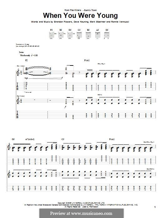 When You Were Young (The Killers): For guitar with tab by Brandon Flowers, Dave Keuning, Mark Stoermer, Ronnie Vannucci
