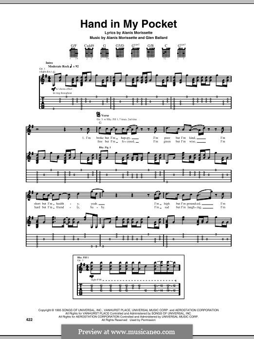Hand in My Pocket: For guitar with tab by Alanis Morissette, Glen Ballard