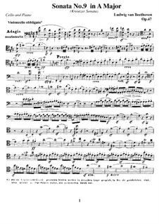 Sonata for Violin and Piano No.9 'Kreutzer', Op.47: Version for cello and piano – cello part by Ludwig van Beethoven