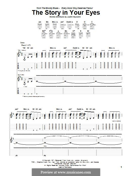 The Story in Your Eyes (The Moody Blues): For guitar with tab by Justin Hayward