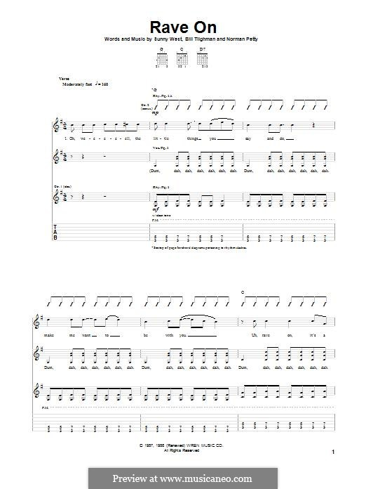 Rave On (Buddy Holly): For guitar with tab by Bill Tilghman, Norman Petty, Sunny West