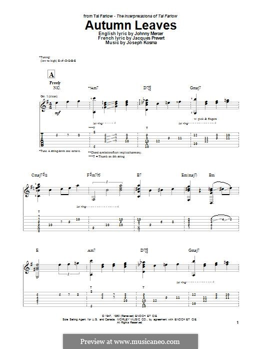 Autumn Leaves (Les Feuilles Mortes): For guitar with tab by Joseph Kosma