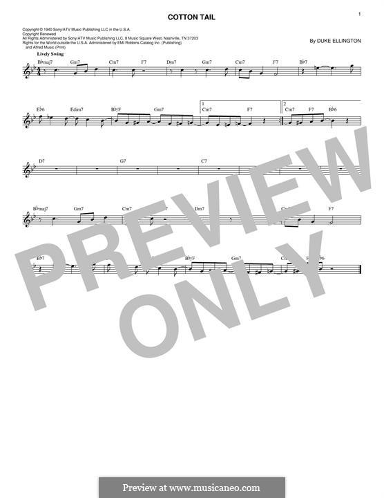 Cotton Tail: Lyrics and chords by Duke Ellington