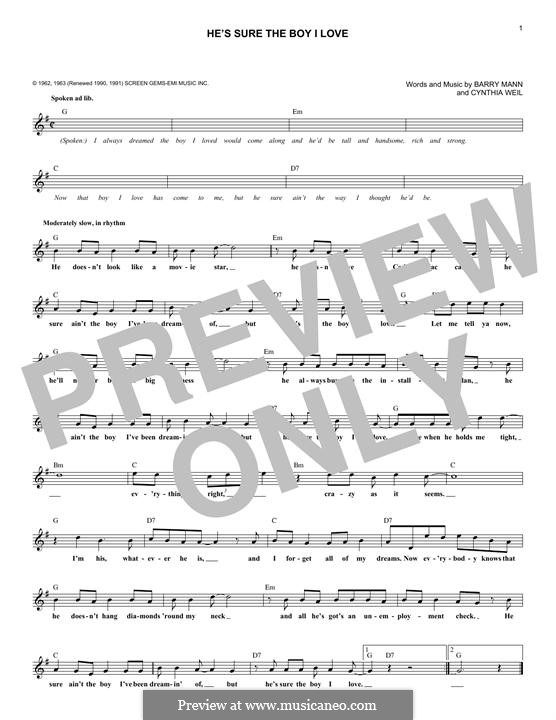 He's Sure the Boy I Love: Lyrics and chords by Barry Mann, Cynthia Weil