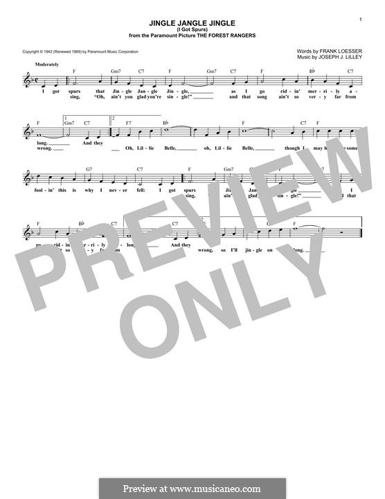 Jingle Jangle Jingle (from The Forest Rangers): Lyrics and chords by Frank Loesser, Joseph J. Lilley