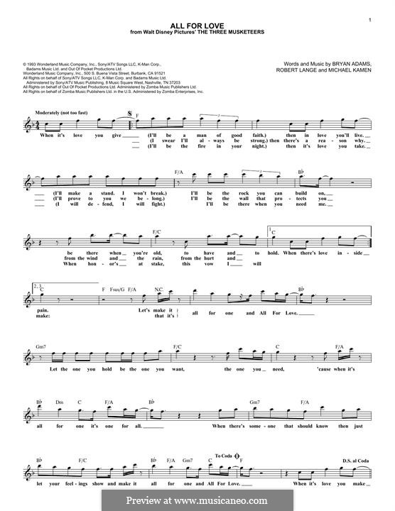All for Love (from The Three Musketeers): Lyrics and chords by Michael Kamen