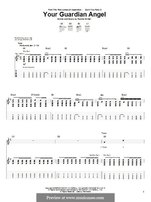 Your Guardian Angel (The Red Jumpsuit Apparatus): For guitar with tab by Ronnie Winter