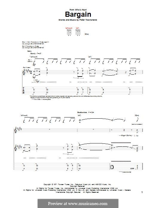 Bargain (The Who): For guitar with tab by Peter Townshend
