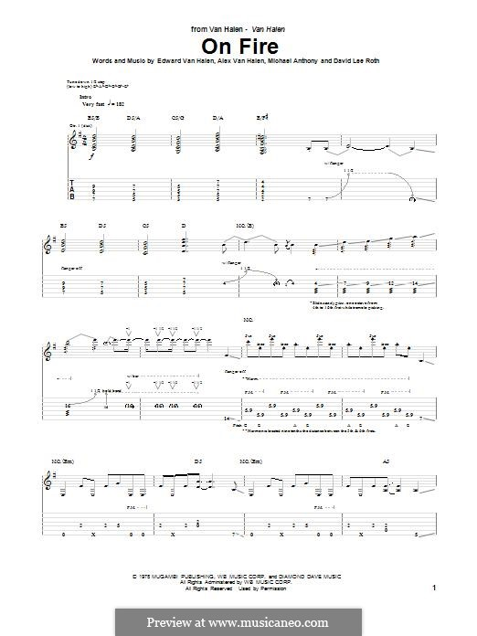 On Fire (Van Halen): For guitar with tab by Alex Van Halen, David Lee Roth, Edward Van Halen, Michael Anthony